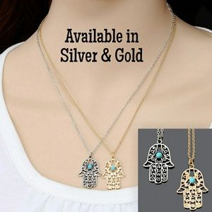 Jewelry - 🌹NEW Hamsa Hand Fatima Silver or Gold Necklace
